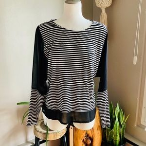 Striped Long Sleeved Top With Sheer Sleeve Detail